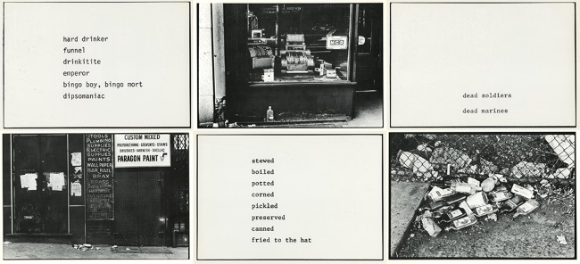 Martha Rosler, The Bowery in two inadequate systems, 1974-1975.